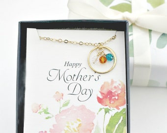 Mothers Day Gift   Birthstone Necklace for Mom, Personalized Eternity Circle Necklace, for Grandma, Mom Necklace, Grandmother Gift   M02