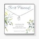 Best Friend Birthday Gift, Four Leaf Clover Necklace, Shamrock Lucky Charm Friendship Necklace for Bestie, Bff, Best Buddy, C01