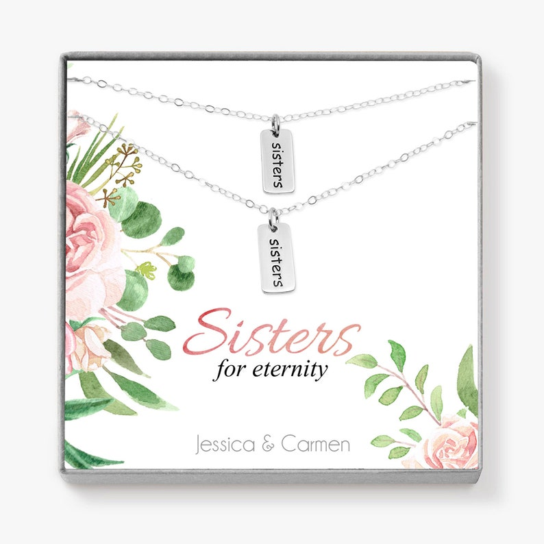Sister Gift Word Necklace Set Sorority Gifts Big Little image 0