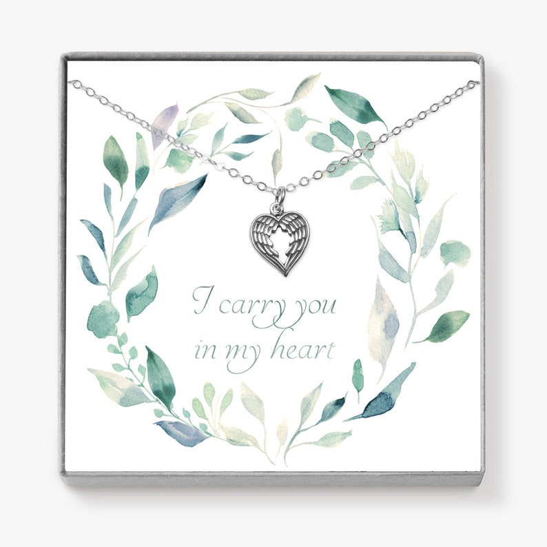Miscarriage Gift Angel Wing Necklace Infant Loss Necklace image 0