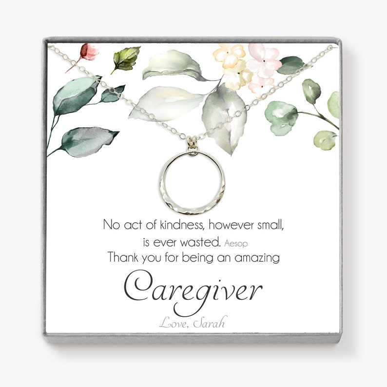 Gift for Caregiver  Eternity Necklace Personalized Caregiver image 0