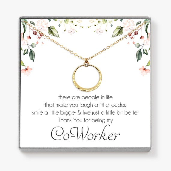 Coworker Gift Gold Circle Necklace Thank You Gift For Boss Lady Girl Boss Or Your Work Buddy Comes In Jewelry Box Co Worker Gift X01