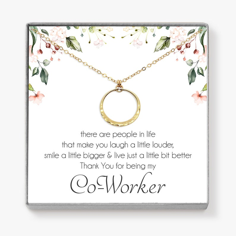 Coworker Gift Gold Circle Necklace Thank You Gift for Boss image 0
