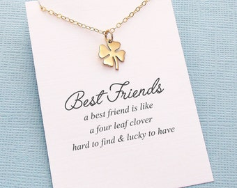 Best Friend Gift   Four Leaf Clover Necklace, Best Friend Gift, Best Friend Necklace, Friends Friendship Gift, Friendship Necklace   F06