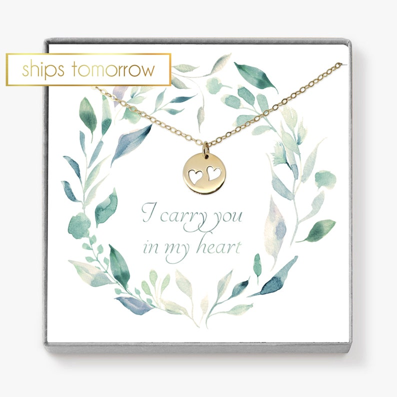 Miscarriage Necklace Double Heart Necklace Twin Mom image 0
