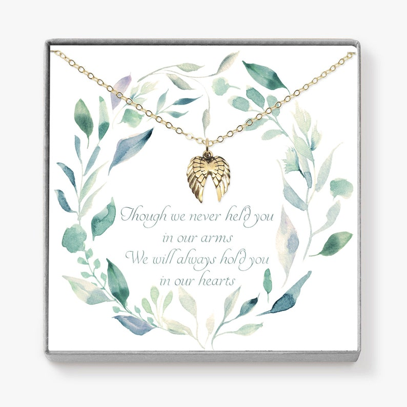 Miscarriage Gift Angel Wing Necklace Memorial Gift image 0