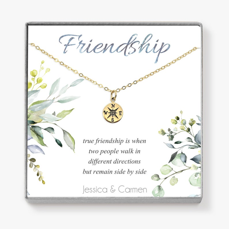 Personalized Best Friend Gift Compass Necklace Gold image 0