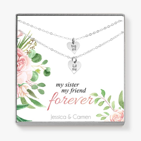 Sorority Gifts, Heart Necklace Set for Big Little Sister, Big Sister Gift  for Birthday, Unbiological Sister, Sorority Sisters, H04