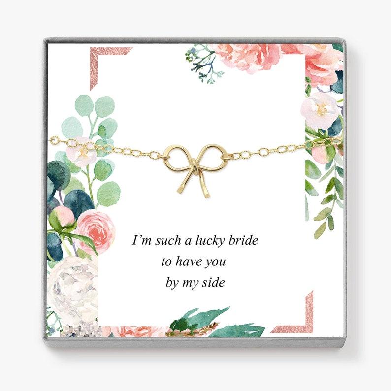 Bridesmaid Proposal Gift Ideas Dainty Bow Bridesmaid Bracelet image 0
