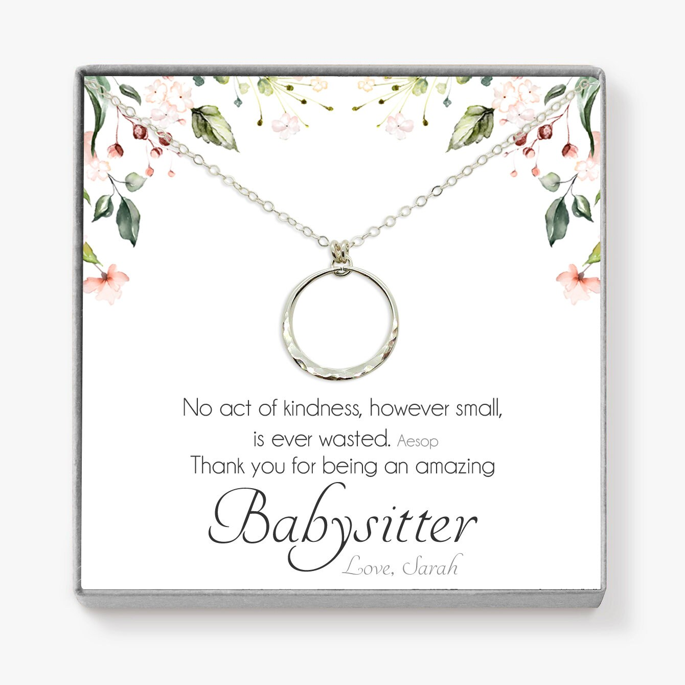 Babysitter-Geschenk Ewigkeit Halskette personalisierte | Etsy