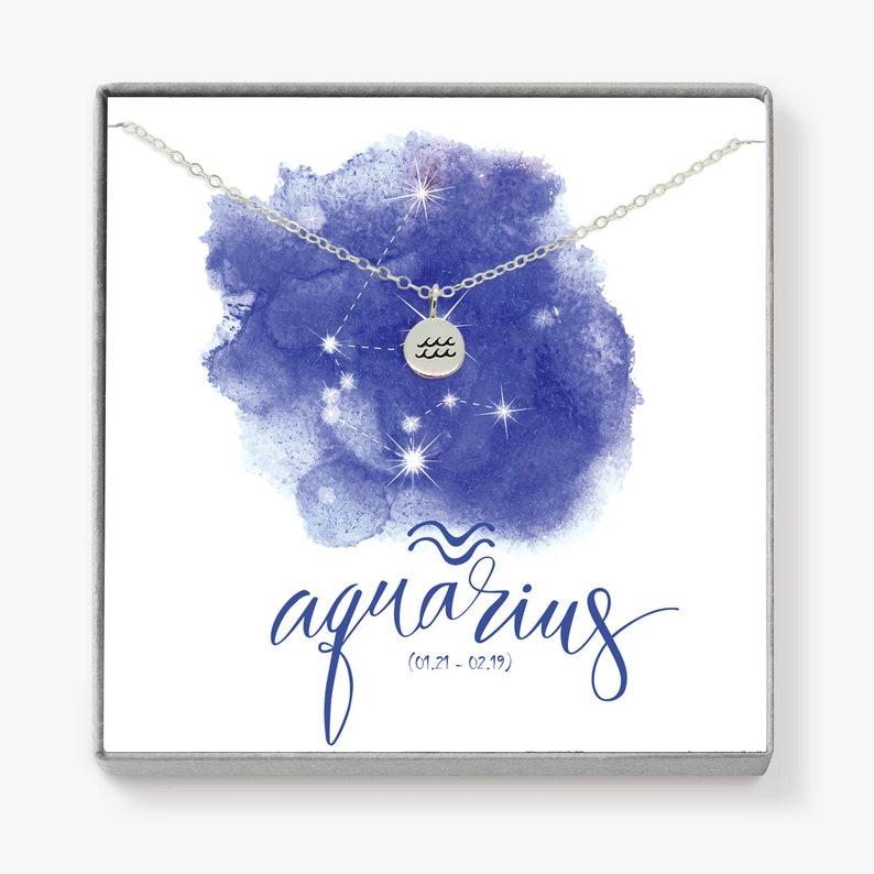 Silver Aquarius Zodiac Necklace Zodiac Jewelry Personalized image 0
