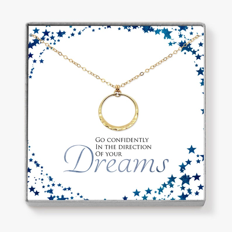Phd Graduation Gift Dainty Minimalist Gold Circle Necklace image 0