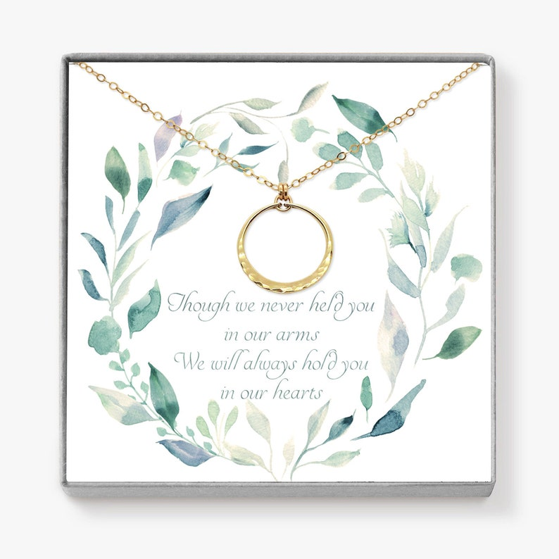 Miscarriage Necklace Gold Circle Necklace Memorial Gift image 0