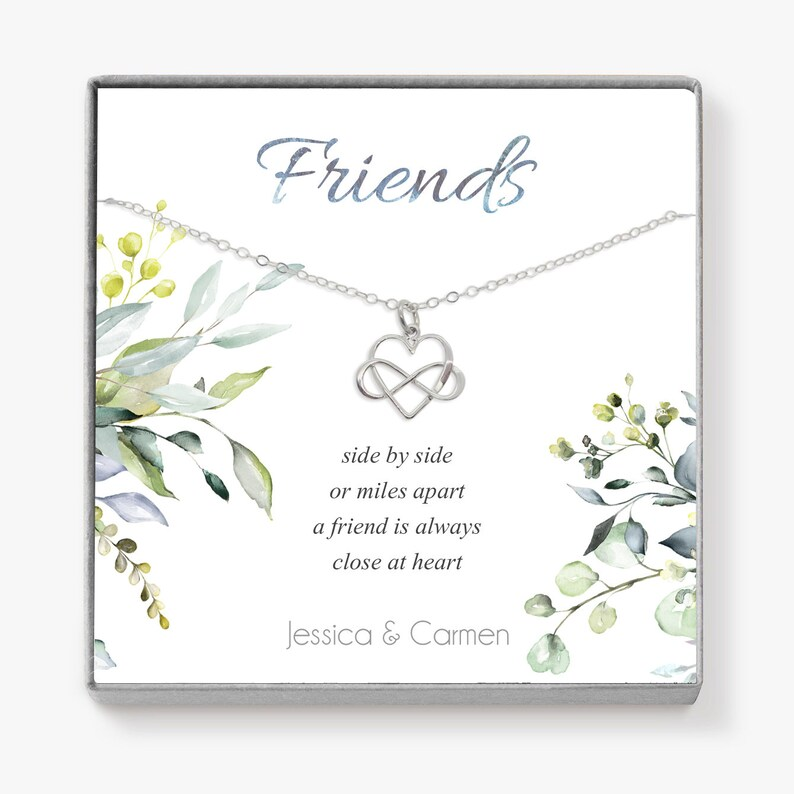 Best Friend Birthday Gift Infinity Heart Necklace Long