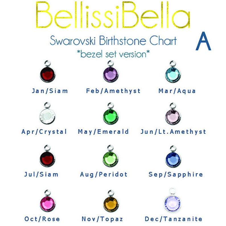 Add-on Personalized Cystal Birthstone Charm for Crystal image 0