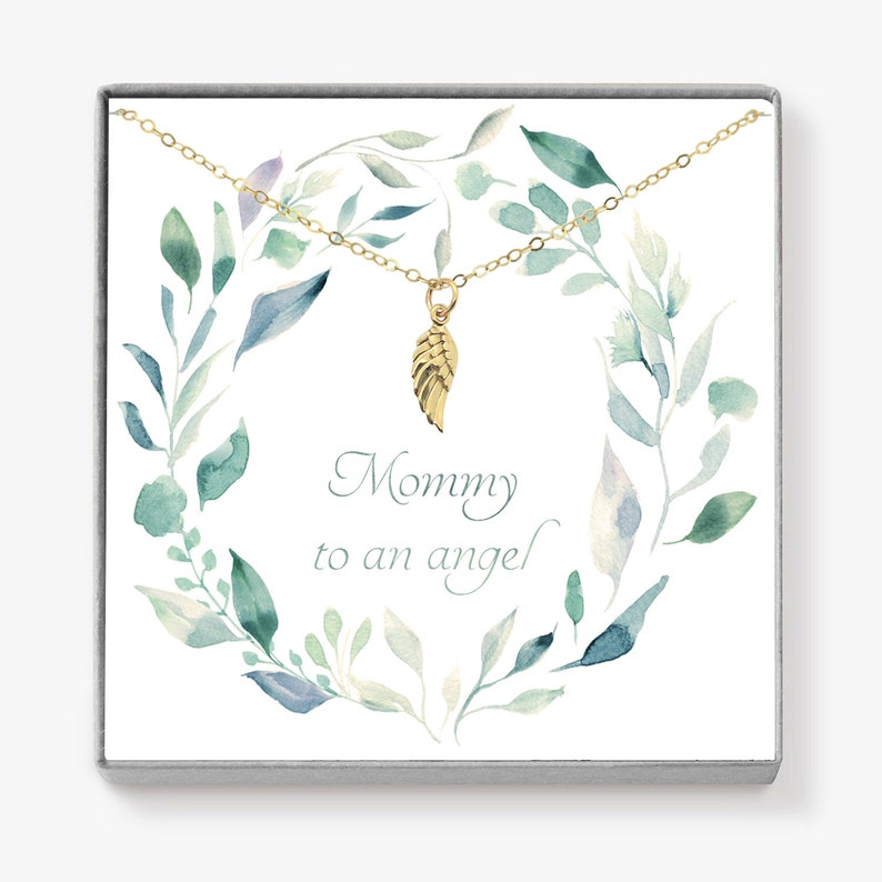 Miscarriage Necklace Angel Wing Necklace Memorial Gift image 0