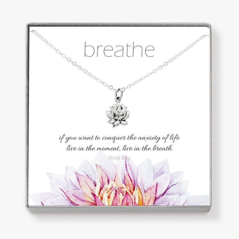 Sterling Silver Lotus Necklace Motivational Jewelry for image 0