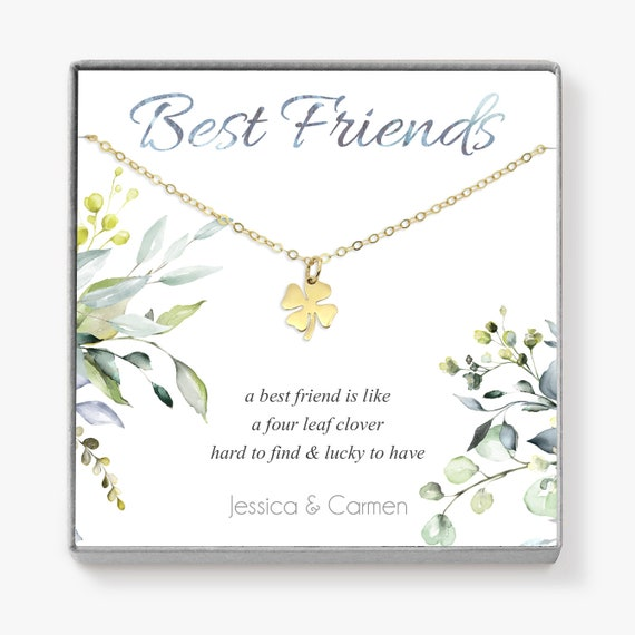 Bronze Good Luck Four Leaf Clover Necklace Message Card Quote Leaving Gift