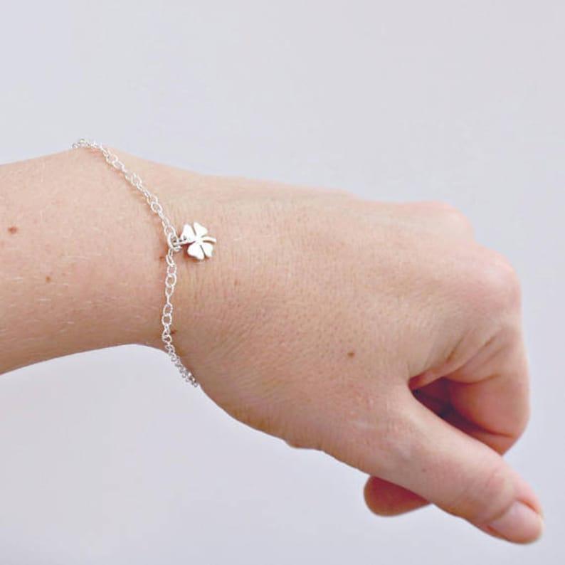Clover Bracelet Botanical Jewelry Delicate Bracelet image 0