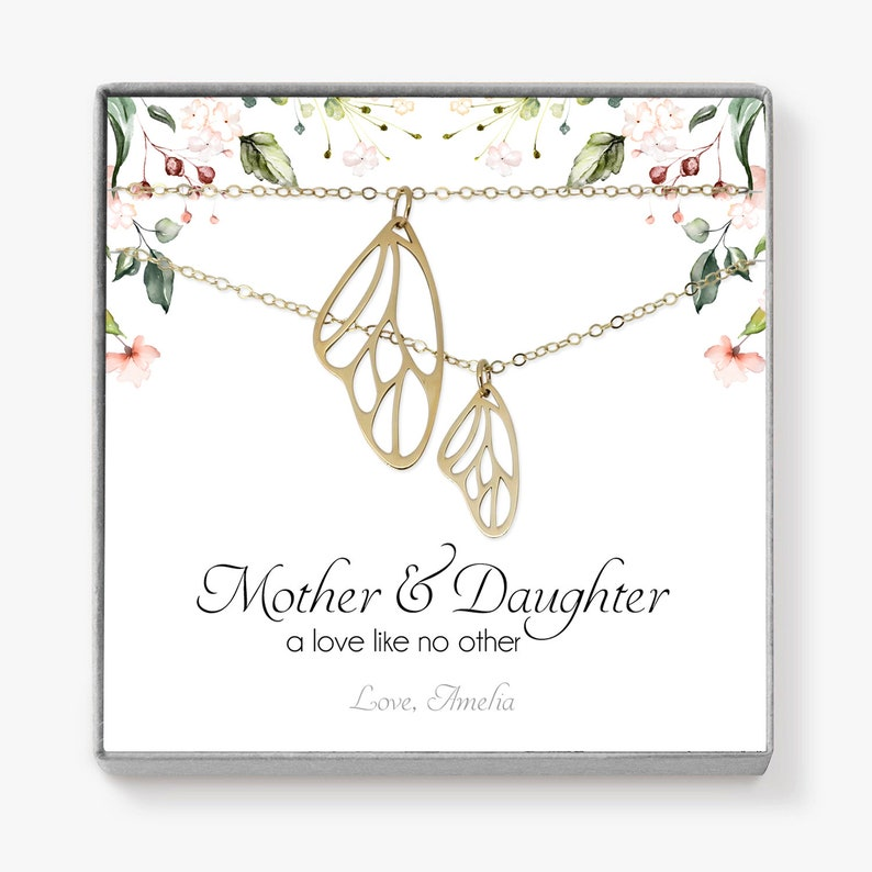 Mother Daughter Necklace Set Gold Butterfly Necklace Set image 0