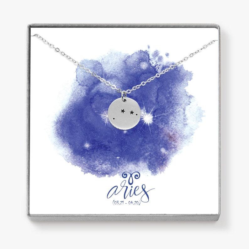 Silver Aries Zodiac Necklace Zodiac Jewelry Personalized image 0