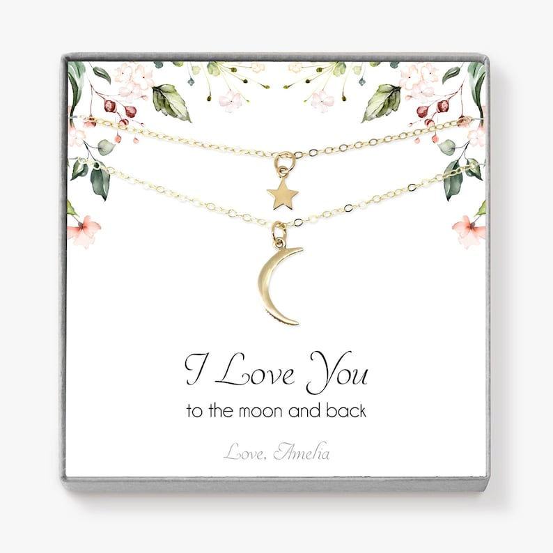 Personalized Mother Daughter Necklace Set Crescent Moon image 0