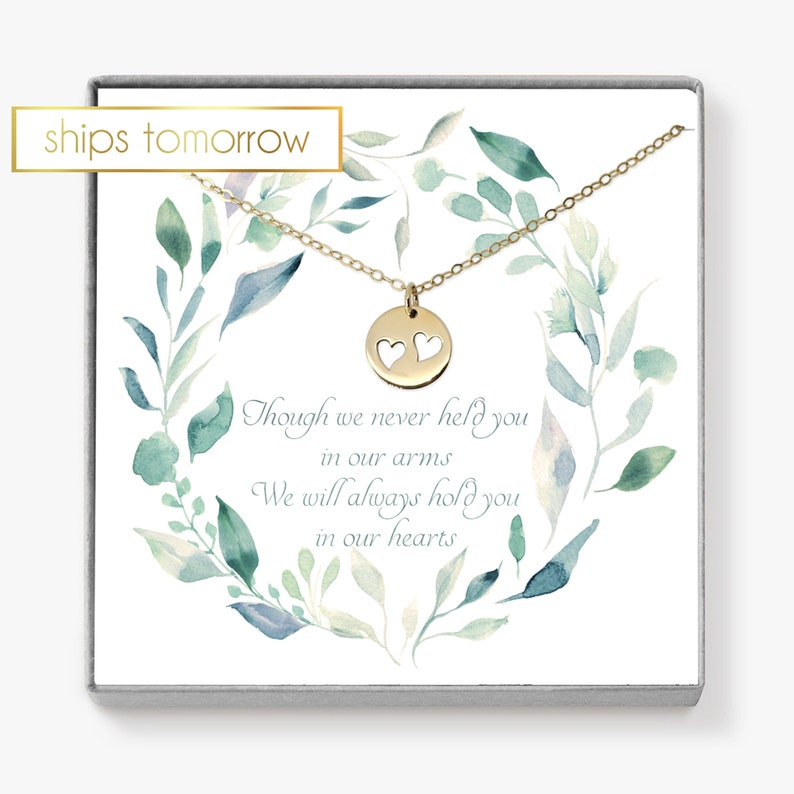 Twin Miscarriage Gift Memorial Gift Heart Necklace image 0