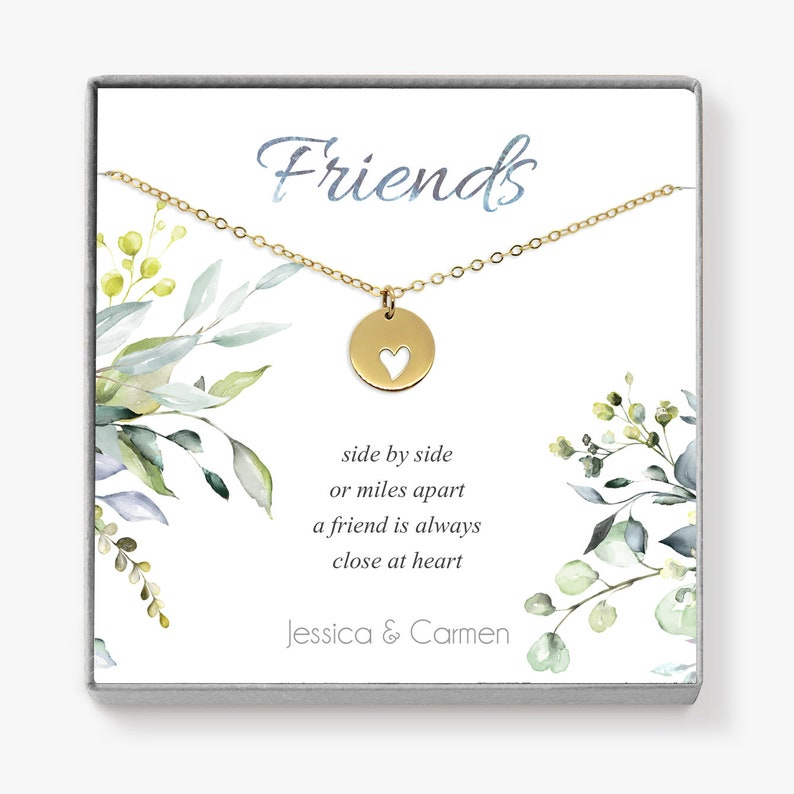 Best Friend Necklace Dainty Gold Heart Necklace Birthday image 0