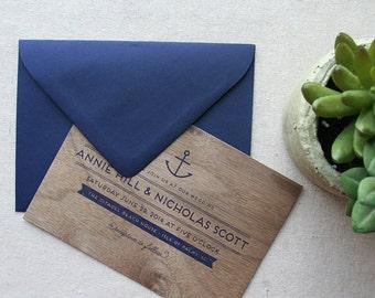 Nautical Real Wooden Wedding Invitation, Anchor Navy Wedding Invitation