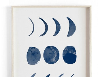 Moon Phases - Moroccan illustration. Beautifully textured cotton canvas art print. Large scale art