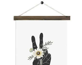 Peace and Daisies - watercolor hand art wall hanging, wood trim art printed on textured cotton canvas. Vintage Scientific Poster chart