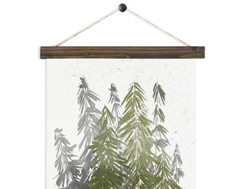 Evergreen - Pine watercolor wall hanging, wood trim art printed on textured cotton canvas. Vintage Scientific Poster chart