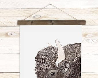 Roam - Buffalo Watercolor wall hanging, wood trim art printed on textured cotton canvas, ready to hang. More Options