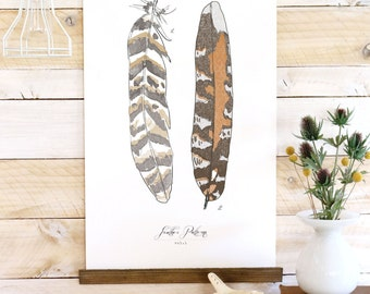 Feather Patterns - Feather canvas wall hanging, wood trim art printed on textured cotton canvas. Vintage Science Poster chart Vol.1