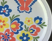 Vintage metal serving tray mod white butterfly flower power 1960s hippie kitchen barware made in USA fabcraft frenchtown nj magnetic