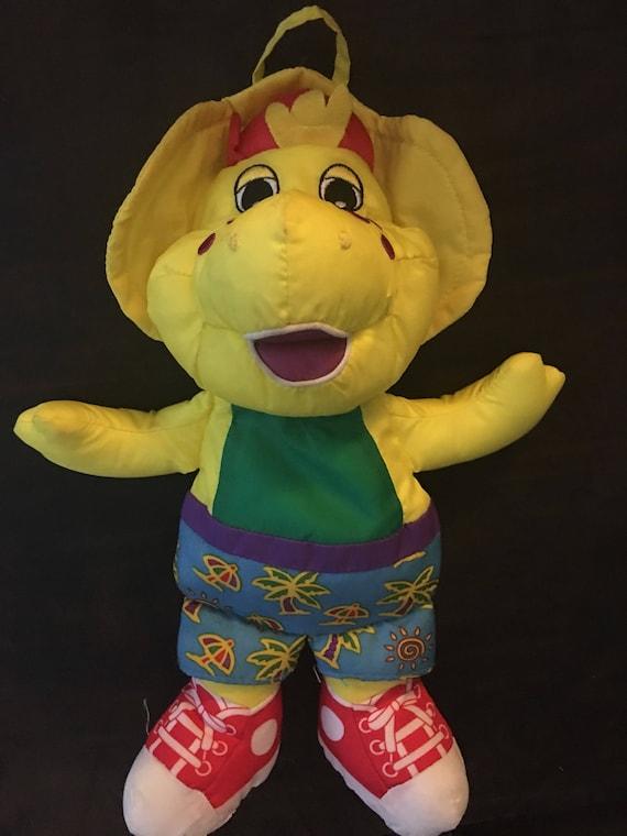 Vintage BJ dinosaur bath time plush machine washable 1990s barney friend  baby bop yellow singalong shorts water toy play