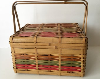 1940's Picnic Basket Bamboo Wood with Stripes