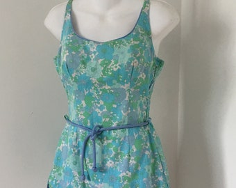 1960's One Piece Swimsuit Romper Cole of California Vintage Size 10 Molded Cups Violet Green and Blue Floral Print 34 B