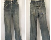 Vintage Denim Jeans Distressed Cinch Back High Waisted 1970 39 s Double Snap Button Patch Baby Bell Bottoms 31 Inch Waist