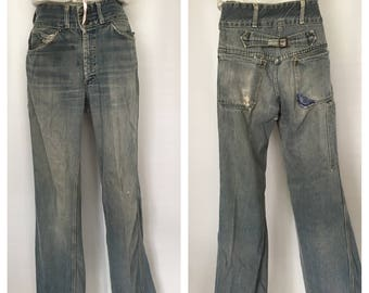Vintage Denim Jeans Distressed Cinch Back High Waisted 1970's Double Snap Button Patch Baby Bell Bottoms 31 Inch Waist