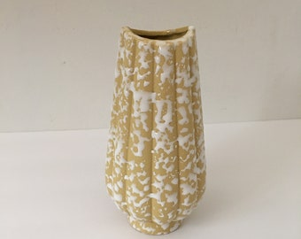 Mid Century Vase Maize Yellow with Thick White Spatter Glaze Spatterware