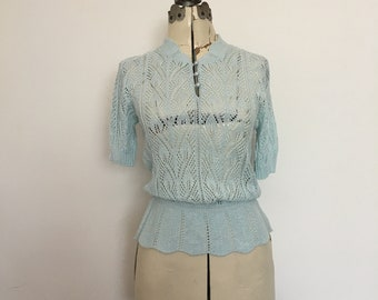 Baby Blue 1970's Sweater Open Work Crochet Style with Short Sleeves Petite Size 8 Summer Sweater