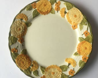 Dinner Plate Sculptured Zinnia PoppyTrail by Metlox Replacement Dinner Plate 1960's Orange and Yellow Floral