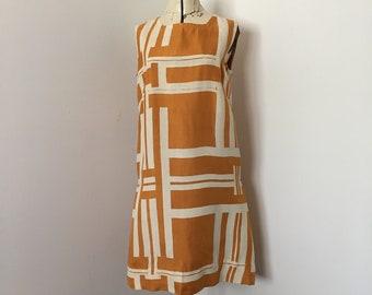 1960's Sheath Dress Mod Print Hawaiian Florida Beach Style Mustard and Off White zip Art Bold Geometric Print by Allison Gowns