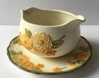 Sculptured Zinnia Poppy Trail by Metlox Gravy Boat 1960's Orange and Yellow Floral