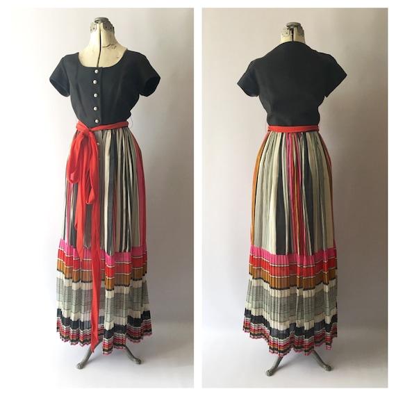 Vintage 60s Green Voile Maxi Dress