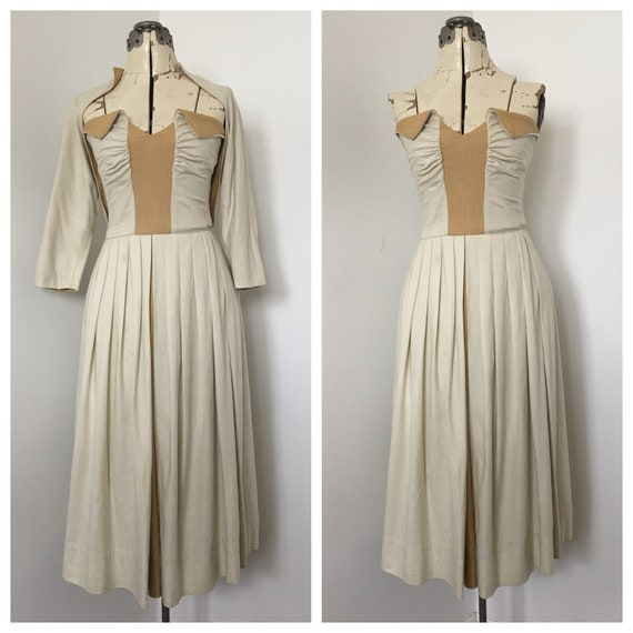 1940's Strapless Dress with Matching Shrug