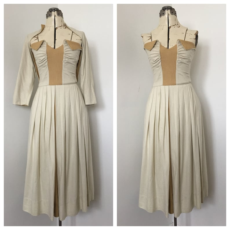 1940s Strapless Dress with Matching Shrug