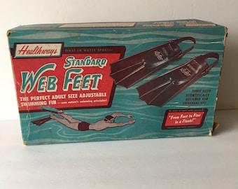 Healthways Vintage Web Feet Scuba Skorkle Gear Rubber Swimming Fins in Original Box 1960's