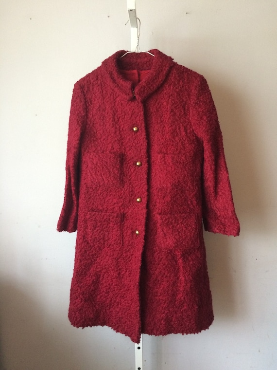 Girls 1960's Maroon Poodle Coat and Romper Dress M